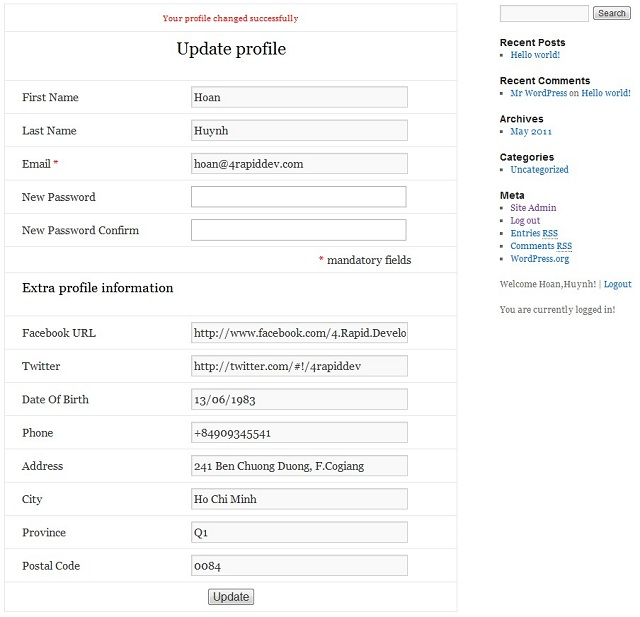WordPress Custom Update Profile Page