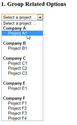Display Group Of Related Options In A Drop Down List